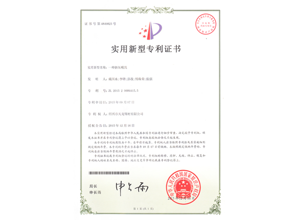 一种挤压模具(实用新型)专利证书及手续合格通知书